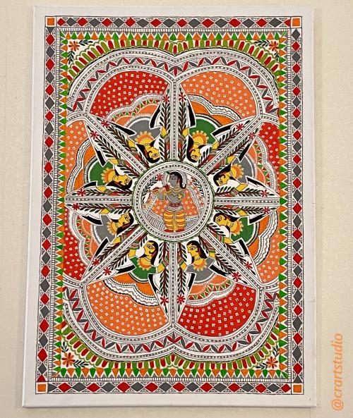 Indian art, acyrlic art, madhubani art, detailed, krishna, radha, gopis, canvass, rasleela, womenartists, fineart, artblog, artforsale, indianartcommunity, painting, passion